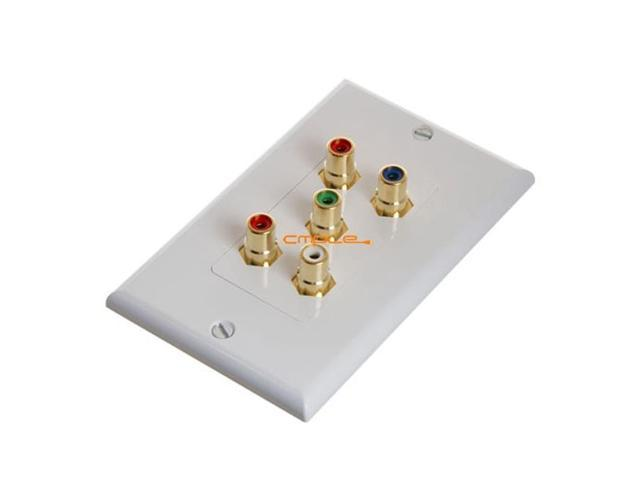CMPLE 566-N RCA Wall Plate- Component Video Audio 5-RCA Gold Connector
