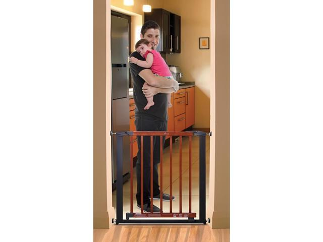 Dream Baby Home Indoor Windsor Safety Baby Infant Dog Pet Gate Charcoal With Cherry Color Wood