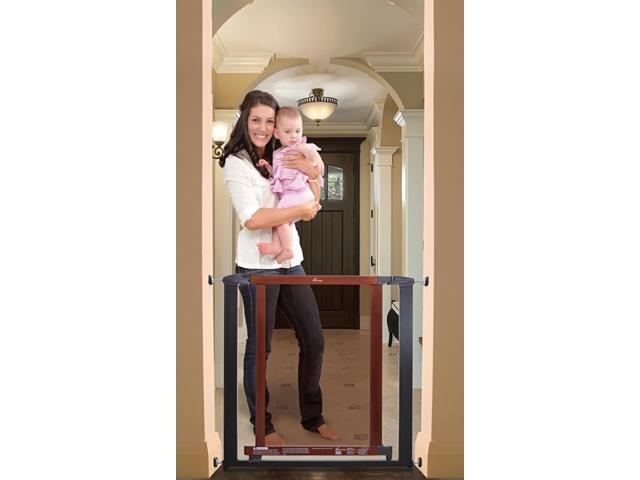 Dream Baby Home Indoor Metropolitan Safety Baby Infant Pet Dog Gate Charcoal With Cherry Color Wood