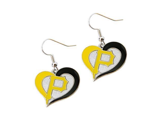 MLB Pittsburgh Pirates Sports Team Logo Ladies Women Girls Swirl Heart Shaped Earring Charm Gift Set