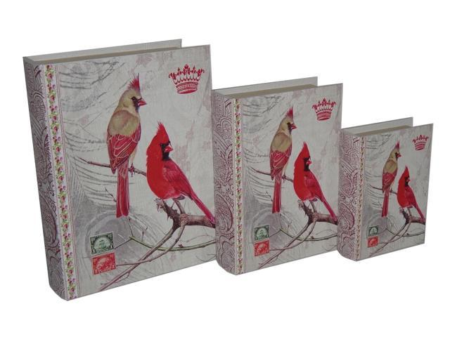 Home Indoor Set of 3 Book Box with Vintage Cardinal Duo, Paisley Print Book Spine printed on Vinyl