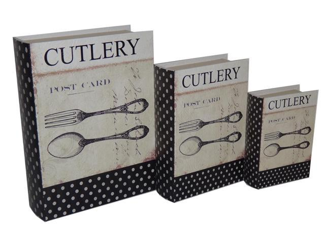 Home Indoor Decorative Holiday Seasonal Gift Set of 3 Book box with Vintage Cutlery Theme Printed on Vinyl