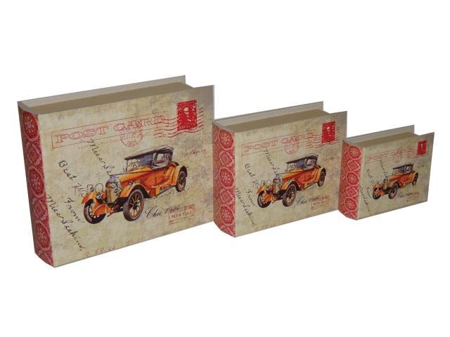Home Indoor Set of 3 Lined Keepsake Book box with Carte Postal Design and Olde Time Car