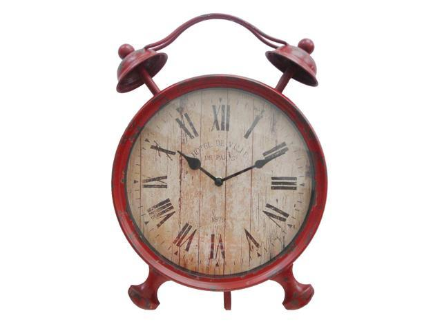 Home Indoor Table Top Decorative Holiday Seasonal Gift FP-3305R Red Metal Alarm Table Clock with Kickstand