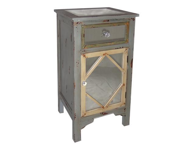 Wood Cabinet with Single Mirrored Door, Mirrored Drawer and Mirrored Table Top
