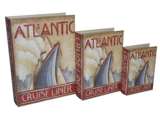 Home Indoor Set of 3 Book Box with Vintage Atlantic Cruise Liner Theme Printed on Vinyl