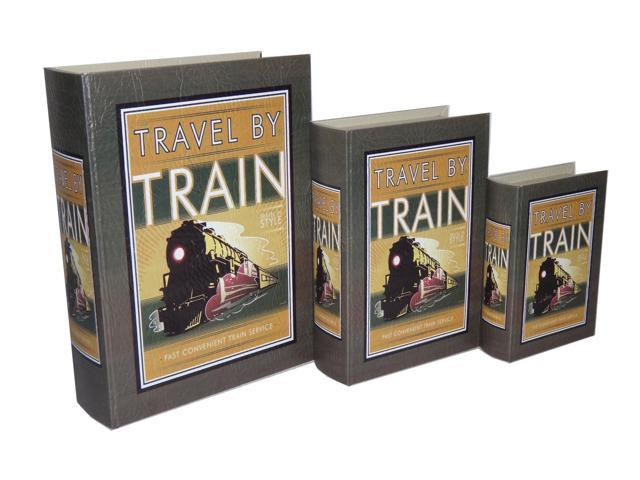Home Indoor Decorative Holiday Seasonal Gift Set of 3 Book Box with Vintage Train Theme Printed on Vinyl