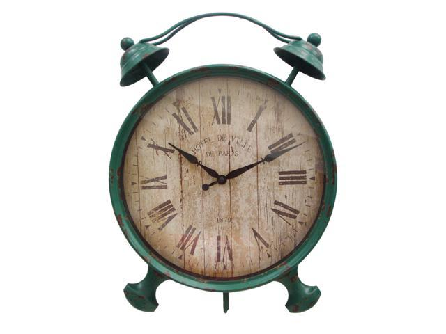 Home Indoor Table Top Decorative Holiday Seasonal Gift FP-3306GRN Metal Alarm Green Clock with Kickstand