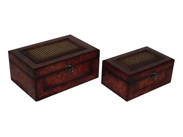 Home Indoor Set of 2 Flat Top wooden Keepsake box with Woven Inlay and Latch Hook