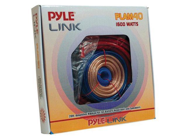 Pyle 20ft 4 Gauge 1600 Watt Amplifier Hookup For Battery Head Unit & Speakers Installation Kit