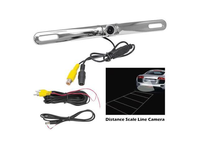 Pyle License Plate Mount Rear View Backup Color Camera w/ Distance Scale Line ''Zinc Metal Chrome''