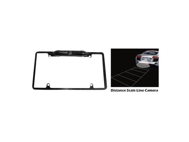 Pyle Low Lux Rear Camera Black Chrome Metal Lisence Plate Frame
