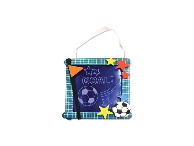 Bulkbuys Kids Soccer Banner Craft Fun Project Kit Pieces With Ribbon Hangers Pack of 24