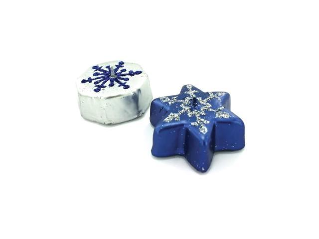 Bulkbuys Home Indoor Outdoor Christmas Birthday Metallic snowflake candles pack of 24