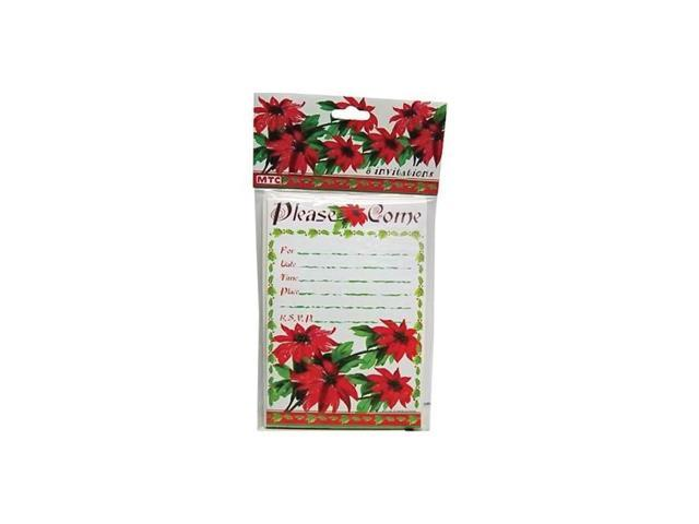 Bulk buys Home Poinsettia 8 pack Christmas Party Invitations Card With Envelopes pack of 24