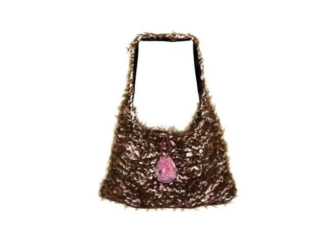 Bulk Buys Outdoor Travel Women Ladies Girls Hand knit Over-the-Shoulder Bag Pack Of 1 Brown/Pink