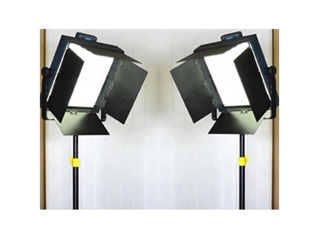 Proaim Set Of Two 1000Pc White Led With Barn Doors & V-Mount Battery Plate + Tripod Light Stand