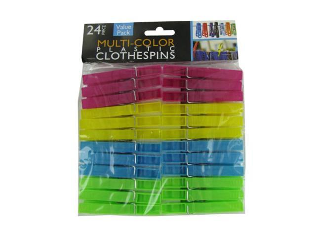 Bulk Buys Household Laundry Accessory Dress Hanging Multi-Color Plastic Clothespins 30 Pack