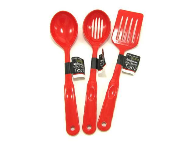 Home Indoor Decorative Dining Melamine Household Kitchen Tools Red Pack of 12