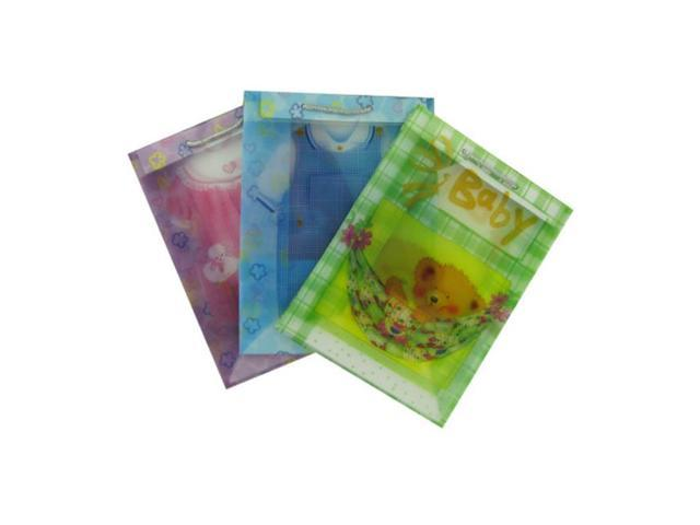 Teddy Bear Kids Clothes Design Transparent Gift Wrapping Baby Bags Assorted Medium Size Pack of 24