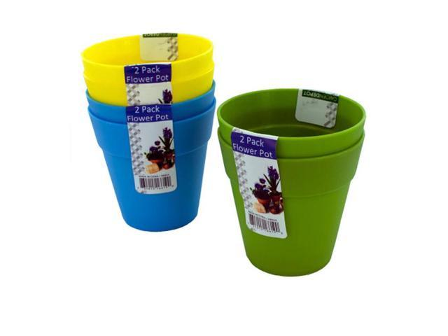 Outdoor Living Plastic Flower Planters Pots Assorted Colors 2 pack Case 24