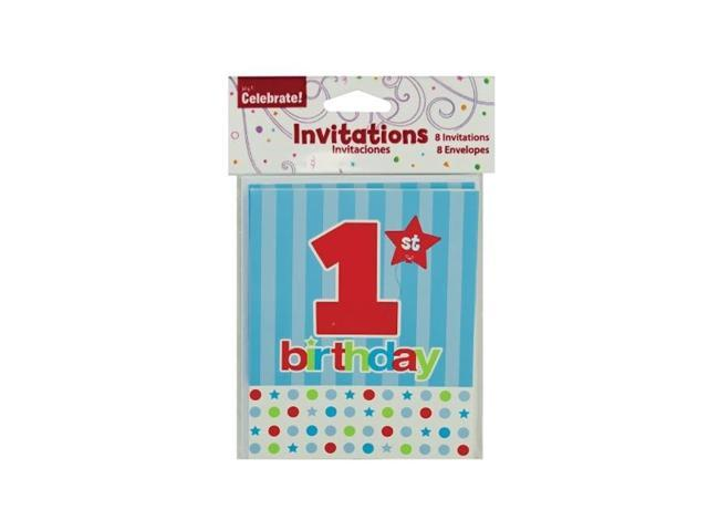 Bulkbuys Home Kids 8 pack 1st Birthday Celebration Party Invites Case of 24