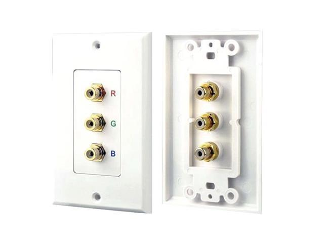 Pyle Home 3 RGB RCA Component Audio Video Theatre Power Outlet Wall Plate