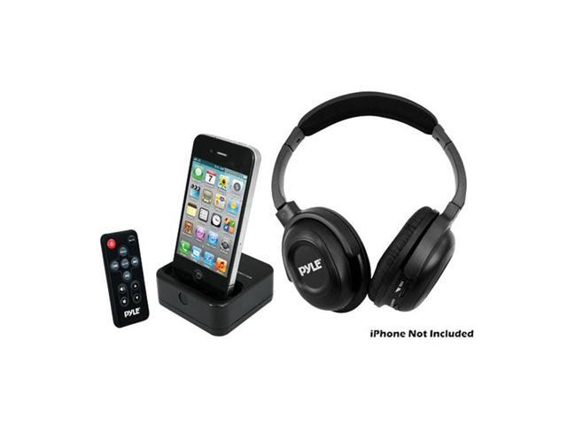 PyleHome UHF Wireless Stereo Headphone with Wireless iPhone iPod Dock Transmitter and RF Remote Control