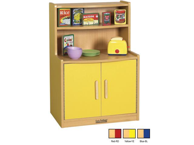 ECR4Kids Indoor Home Kids Colorful Essentials Play Red Kitchen Cupboard