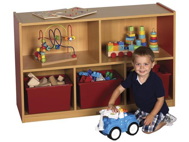 ECR4Kids Kids Toys Books 30 H Colorful Essentials Storage Cabinet Red - 5 Comp