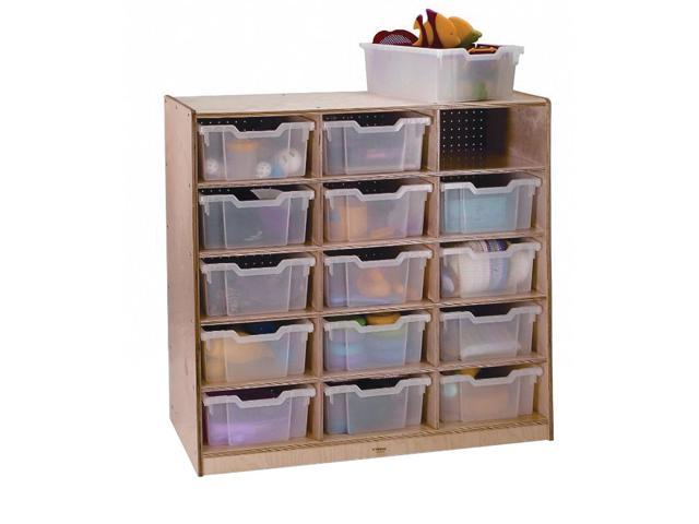 Whitney Brothers Birch Laminate Kids Playroom 15 Clear Tray Toy Organizer Storage Cabinet