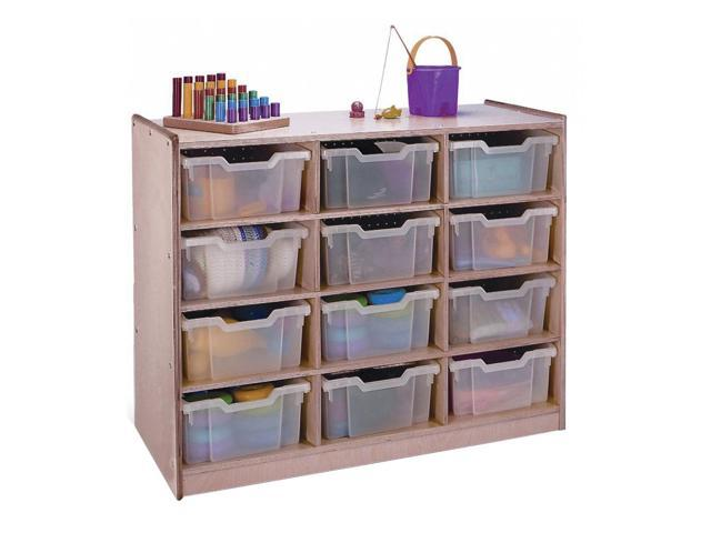 Whitney Brothers Birch Laminate Kids Playroom 12 Clear Tray Toy Organizer Storage Cabinet
