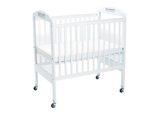 Angeles Adjustable Fixed-Side White Clear View Crib