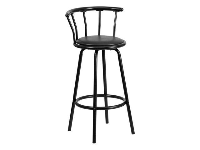 Flash Furniture Home Office Kitchen Crown Back Contemporary Metal Bar Stool With Black Vinyl Swivel Seat