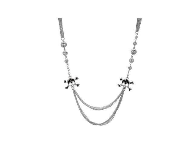 Bulkbuys Black Crystal Skull and Crossbones Multi Strand Necklace Pack of 4