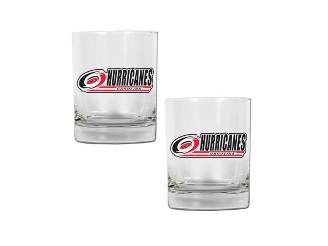 NHL Sports Carolina Hurricanes 14oz 2pc Rocks Glass Set Clear