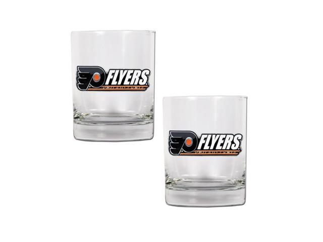 NHL Sports Philadelphia Flyers 14oz 2pc Rocks Glass Set Clear