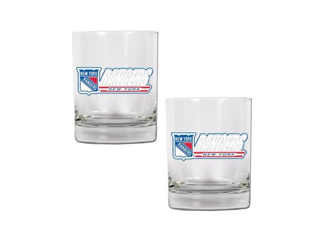 NHL Sports New York Rangers 14oz 2pc Rocks Glass Set Clear