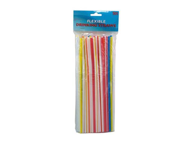 Bulk Buys Picnic Party Assorted Colors Flexible Plastic Drinking Straws Pack of 12