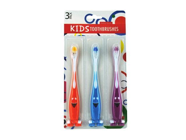 Bulk Buys Kids Fun Happy Face Design Plastic Toothbrush Set Pack of 12