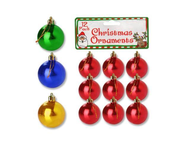 Bulk Buys 9 Small Plastic Christmas Ornament Balls Holiday Tree Decor Pack of 25