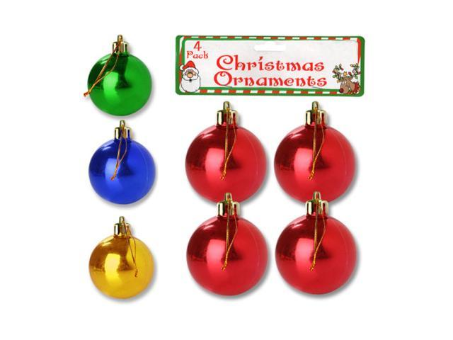 Bulk Buys 4 Small Plastic Christmas Ornament Bulbs Holiday Tree Decor Pack of 25