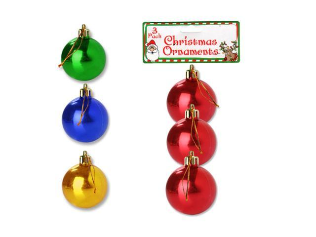 Bulk Buys 3 Small Plastic Christmas Ornament Balls Holiday Tree Decor Pack of 25