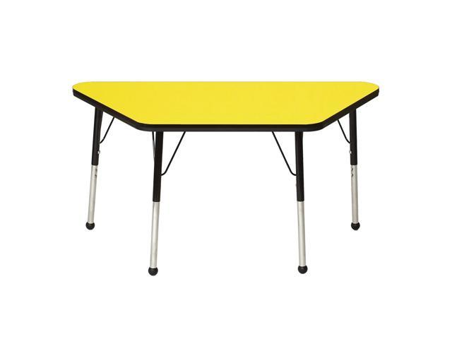 Mahar Kids Classroom Play Activity Self-Leveling Nickel Glide Adjustable Blue Edge Trapezoid Table Yellow Toddler Leg Height 16