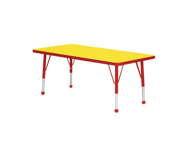 Mahar Kids Classroom Play Activity Self-Leveling Nickel Glide Adjustable Red Edge Rectangle Table Yellow Toddler Leg Height 16