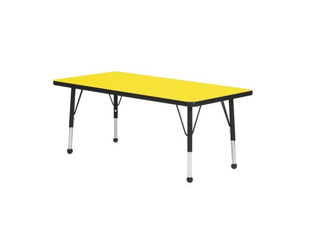 Mahar Kids Classroom Play Activity Self-Leveling Nickel Glide Adjustable Tan Edge Rectangle Table Yellow Standard Leg Height 21
