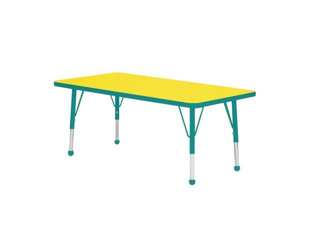 Mahar Kids Classroom Play Activity Self-Leveling Nickel Glide Adjustable Teal Edge Rectangle Table Yellow Toddler Leg Height 16