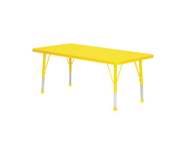 Mahar Kids Classroom Play Activity Self-Leveling Nickel Glide Adjustable Yellow Edge Rectangle Table Yellow Standard Leg Height 21