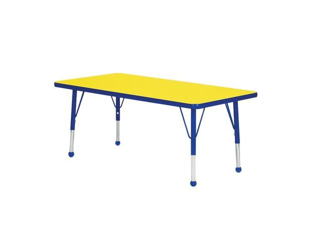 Mahar Kids Classroom Play Activity Self-Leveling Nickel Glide Adjustable Blue Edge Rectangle Table Yellow Toddler Leg Height 16