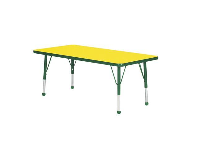 Mahar Kids Classroom Play Activity Self-Leveling Nickel Glide Adjustable Forest Green Edge Rectangle Table Yellow Toddler Leg Height 16